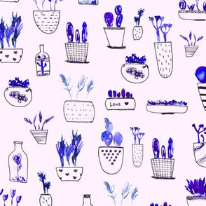 Blue cacti on pink || watercolor cactus pattern