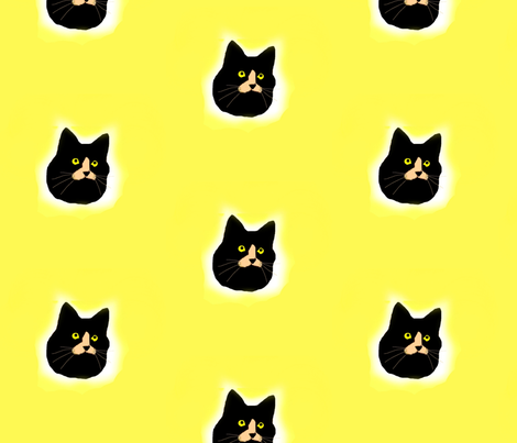 Black Cat Polka Dots (larger) fabric by robin_rice on Spoonflower - custom fabric