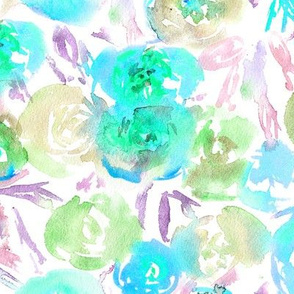 Flowers in tiffany blue || watercolor floral pattern