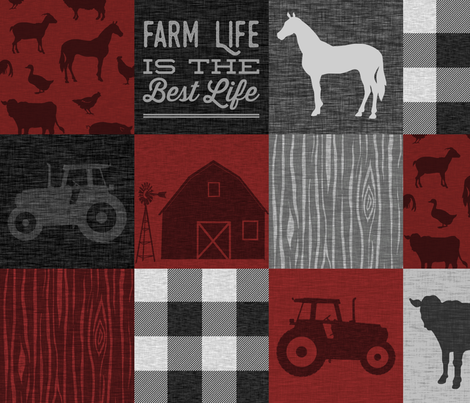Farm Life Quilt - Red And Black fabric by sugarpinedesign on Spoonflower - custom fabric