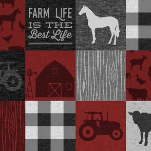 Farm Life Quilt - Red And Black