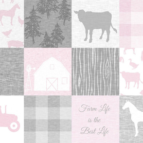 Farm Life Quilt - cool pink and grey
