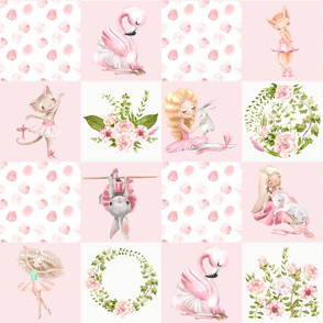 "14"" Ballett Dance - Little Ballerinas and Cute Animals Patchwork - baby girls quilt cheater quilt fabric - spring animals flower fabric, baby fabric, cheater quilt fabric"