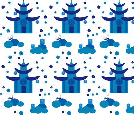 chinoiserie_blue temple fabric by alandco on Spoonflower - custom fabric