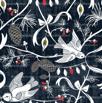 Merry Forest - Christmas Chinoiserie Navy Blue
