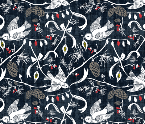 Merry Forest - Christmas Chinoiserie Navy Blue fabric by heatherdutton on Spoonflower - custom fabric