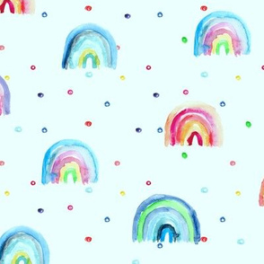 Rainbow baby dreams on blue || watercolor pattern for nursery