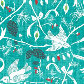 Merry Forest - Christmas Chinoiserie Aqua