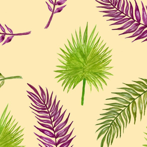 Dino ferns and palm leaves