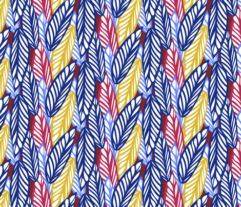 Pop Art Leaves in Blue, Red, Yellow & White fabric by lauriekentdesigns on Spoonflower - custom fabric