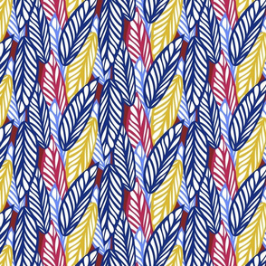 Pop Art Leaves in Blue, Red, Yellow & White
