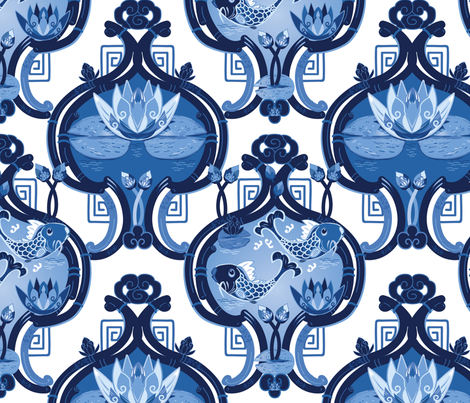 Chinese Lilly Pond with Fish  fabric by clarkyworks on Spoonflower - custom fabric
