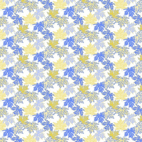 Little Maple Leaves in White, blue and yellow