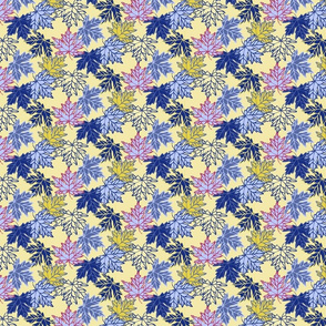 Small Maple Leaves in Blues & yellows