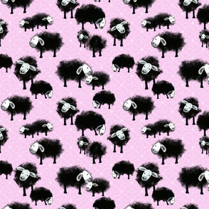 Wee Flock Grazing on Lilac Background