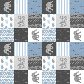 Wild Thing - elephants - steel blue - ROTATED