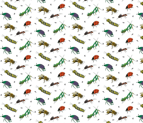 Bug Love Two on White fabric by barbaramarrs on Spoonflower - custom fabric