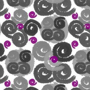 Gray and Magenta Spirals on White
