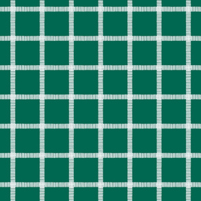 Striped Windowpane Block Print White on Evergreen