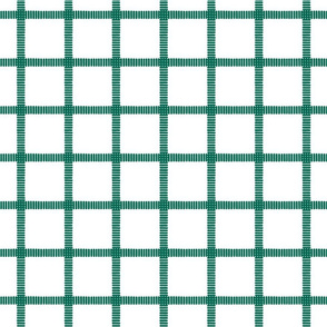 Striped Windowpane Block Print in Evergreen on White