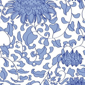 Chinoiserie Vines in Delft Blue + White