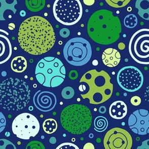 Playful Planets in Blue & Green