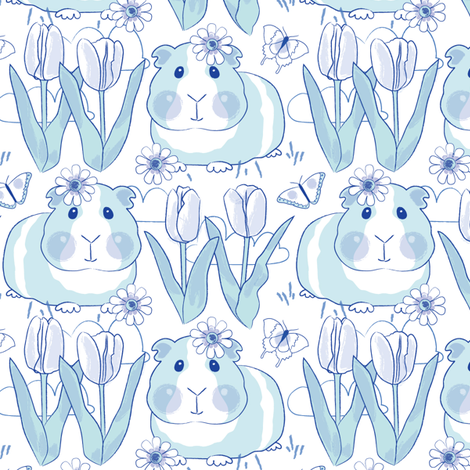 chinoiserie spring guinea-pigs-with-tulips fabric by lilcubby on Spoonflower - custom fabric