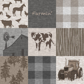 Cow Farmin Quilt - Soft Brown And grey