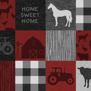Home Sweet Home Farm Quilt - Red/black