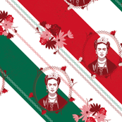 frida on mexican flag colors - folklore style