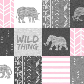 Wild Thing Safari Quilt - pink and grey