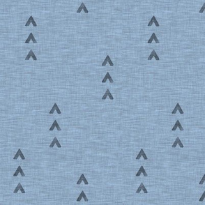 Tri Arrows on Linen - slate blue