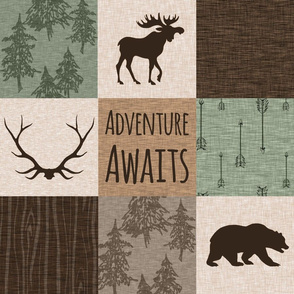 Adventure Awaits Quilt - green and brown