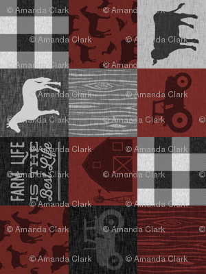 Farm Life Quilt - Red And black - rotated