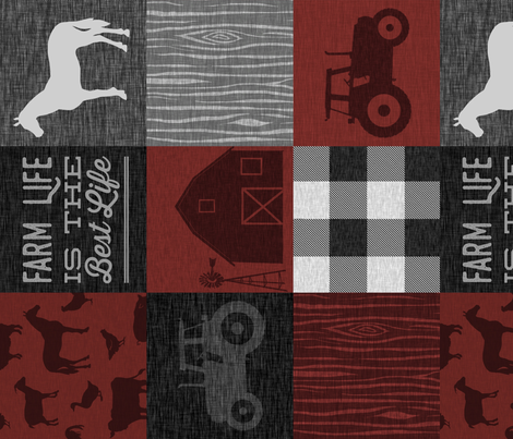 Farm Life Quilt - Red And black - rotated fabric by sugarpinedesign on Spoonflower - custom fabric