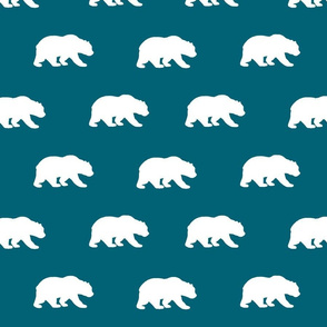 Bears - White on dark teal - Winslow woodland collection