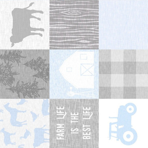 farm Life quilt - baby blue - rotated