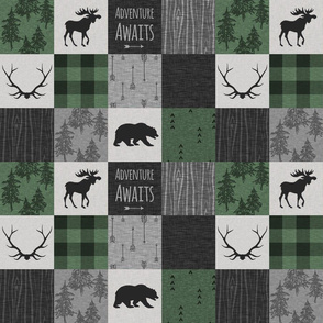 "3""  Adventure Awaits Quilt - pine, black, grey"