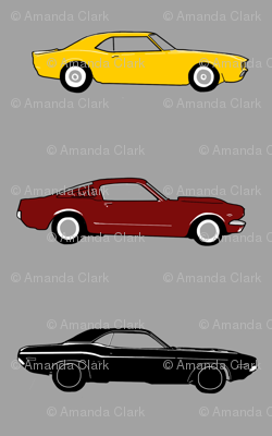 """2.5"""" classic Muscle Cars - yellow, maroon, black on grey"""