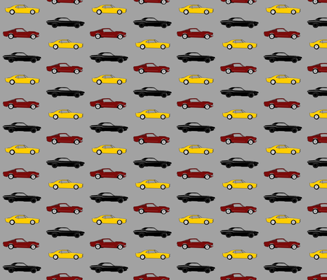 """2.5"""" classic Muscle Cars - yellow, maroon, black on grey fabric by sugarpinedesign on Spoonflower - custom fabric"""