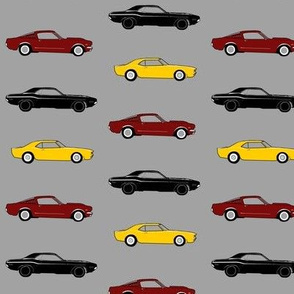 "2.5"" classic Muscle Cars - yellow, maroon, black on grey"