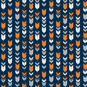 Small Arrow Feathers - orange, grey, white on navy