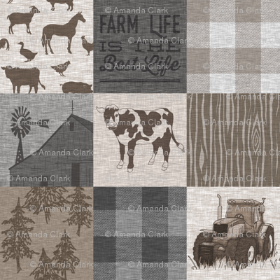 Cow Farm Life - Soft Brown And grey