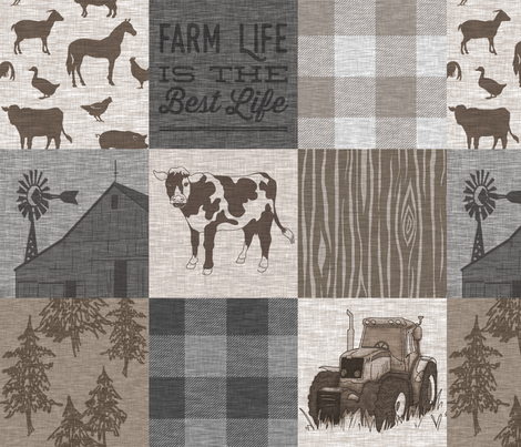 Cow Farm Life - Soft Brown And grey fabric by sugarpinedesign on Spoonflower - custom fabric