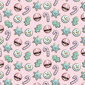 """(3/4"""" scale) Christmas Sugar Cookies - Pastel on pink - holiday C18BS"""