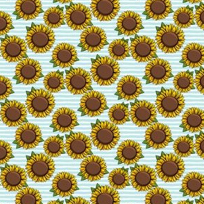 "(3/4"" scale) Sunflowers - light blue stripes C18BS"