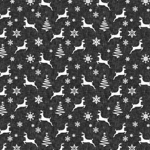 """(3/4"""" scale) reindeer on dark grey linen C18BS"""