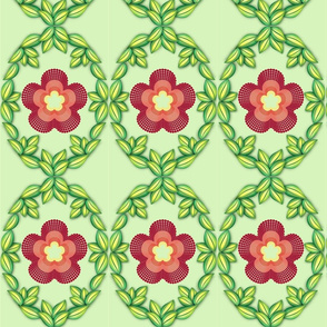 Royal Quilling Flowers on  soft lime green