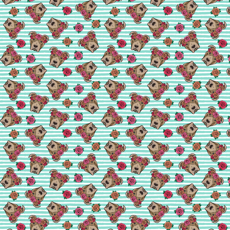 "(3/4"" scale) pit bulls - floral crowns - teal stripes C18BS fabric by littlearrowdesign on Spoonflower - custom fabric"