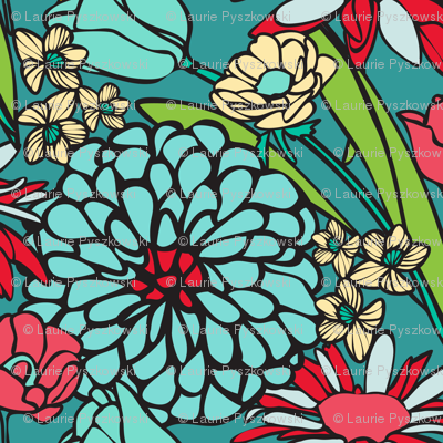 Mod Floral Jumbo Blue & Red colors